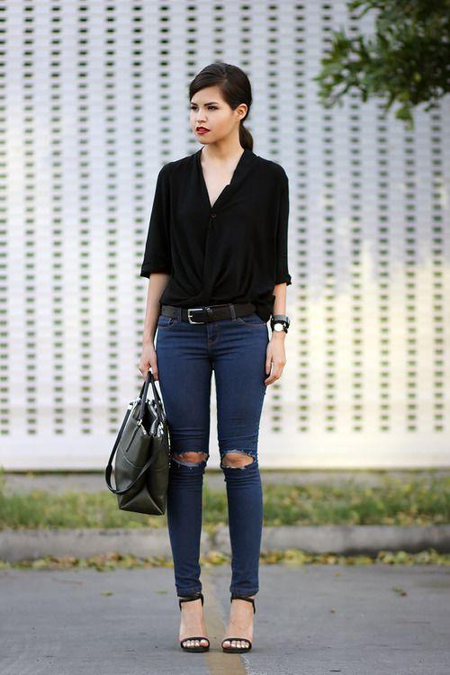 Women's Black Button Down Blouse, Navy Ripped Skinny Jeans, Black ...