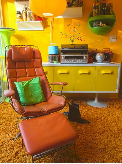 1970s Mod Interior Living Room Orange Chair Yellow