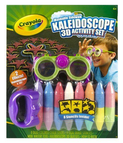 Crayola 3D Kaleidoscope Activity Kit by Crayola. $8.96. Create Outdoor in a BIG way. Washable simply spray with water. 2 Special effects for outdoor art. 8 stencils inside. Dual ended chalk sticks, a chalk tool and stencils make it easy to create Big 3D Art. From the Manufacturer                Crayola 3D Kaleidoscope Activity Kit allows kids to create their own outdoor art then, view in awesome 3D and Kaleidoscope effects.                                    Product ...