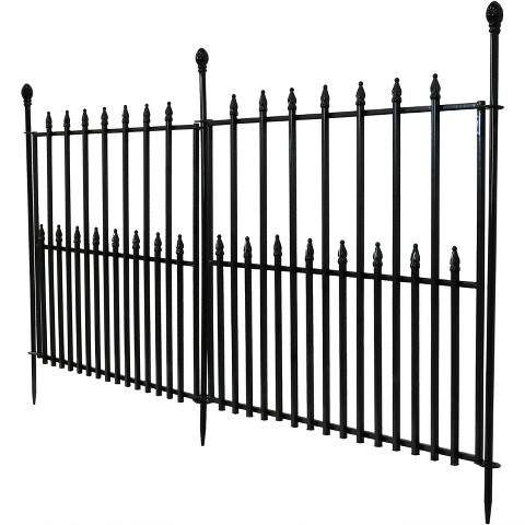 29 X 6 Spear Top Border Fence 2pc Black Sunnydaze Decor Metal Fence Panels Sunnydaze Decor Garden Fence Panels