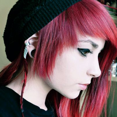 Scene Girl With Red Hair And Beanie