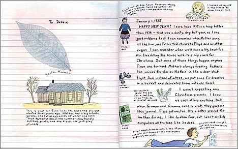 """Inside """"Rose's Journal"""" -- a cute 'journal' about life during the dust bowl/great depression"""