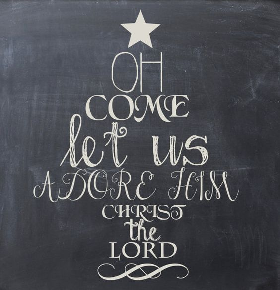 Oh Come Let Us Adore Him Wood Signs Christmas Signs Wood: Christmas Printable Chalkboard Art, Instant Download