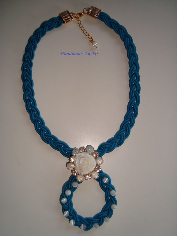 modern necklace with white flower and glass beads  https://www.facebook.com/pages/Handmade-Creations-by-Efi/187659788043676