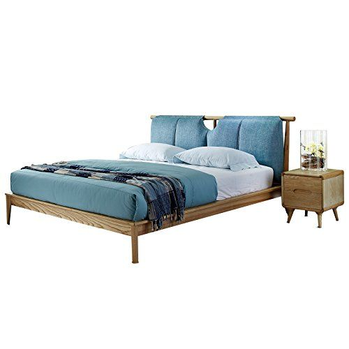 Western Style Minimalist Bedroom Furniture Ash Solid Wood Twin Bed