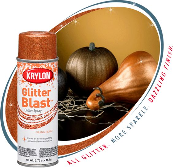 Use Krylon Glitter Blast spray paint for a cool effect on holiday pumpkins, ornaments, etc. I really like this idea.