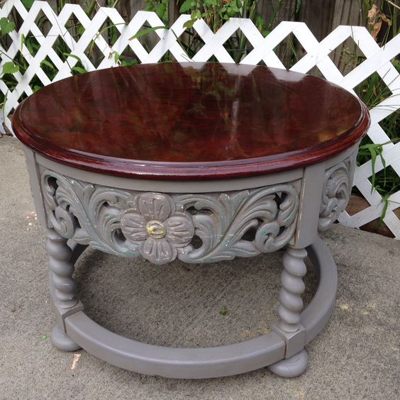 Round coffee table mahogany stain and chalk painted