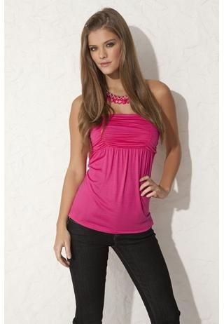 RUCHED OPEN BACK STRAPLESS TOP