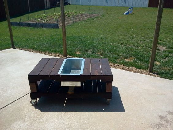 Patio table w built in cooler i made out of pallets for Patio table made from pallets