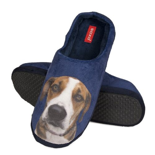 Mens Hound Dog Blue Plush Fleece Mule Slippers Slippers Hound