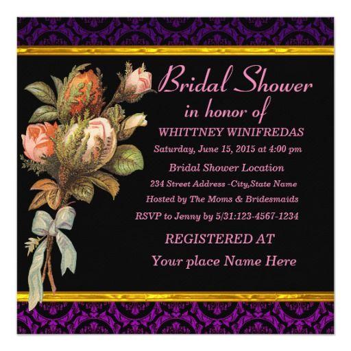 Tastefully Bridal Shower Purple Flower Custom Invitation