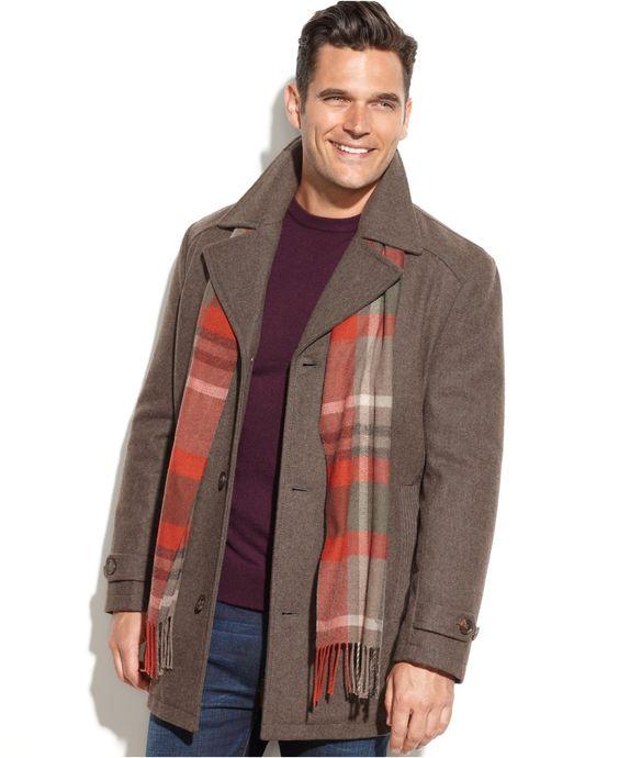 London Fog Bolton Wool-Blend Car Coat with Scarf - Coats & Jackets