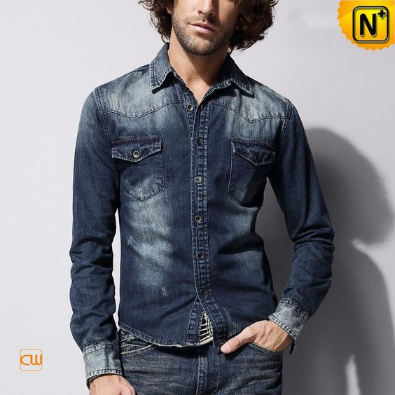100% Cotton Blue Denim Shirts for Men CW114301 Classic 100% cotton ...