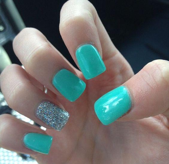 Tiffany Blue #nails #tiffany #glitter