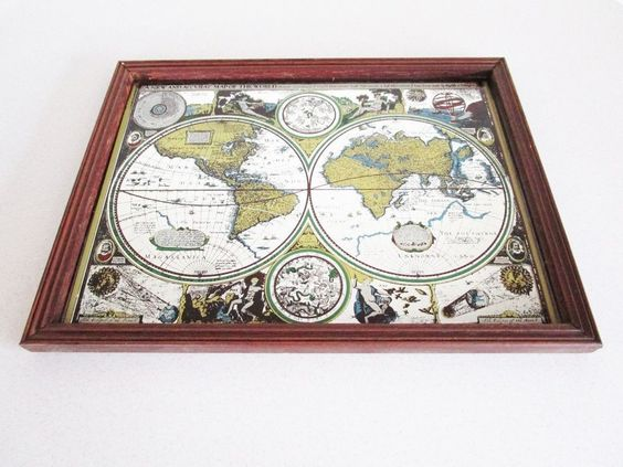Vintage world map atlas wood framed mirror new and accvrat map of vintage world map atlas wood framed mirror new and accvrat map of the world vintage wall hangings art and masks pinterest frame mirrors gumiabroncs Gallery