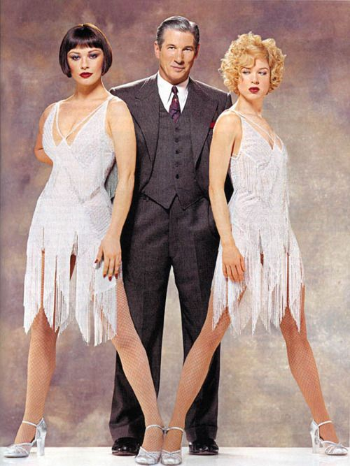 Richard Gere, Renee Zellweger and Catherine Zeta-Jones in an unknown magazine in costumes they wore in Chicago (2002), designed by Colleen Atwood, 1920's