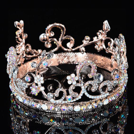 Bride Rose Gold Flower Leaf Crystal Diamond Wedding Bridal Crown Rhinestone Opal Pageant Tiara