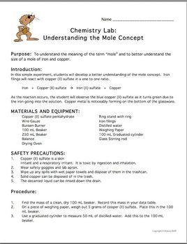 Chemistry Lab The Mole Concept Mole Concept Chemistry Labs Chemistry Fun with moles worksheet answers