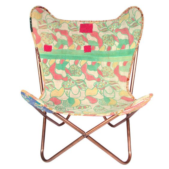 Butterfly Vintage Kantha Chair by Karma Living