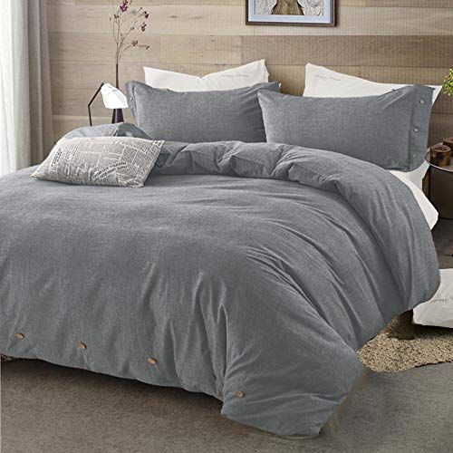 Best Modern Bedding Cover for Men Women Grey Zipper NANKO Cotton Duvet Cover King Set 800 TC Gray Wash Cotton Hotel Luxury Hypoallergenic Duvet Down Comforter Quilt Cover with Buttons Ties