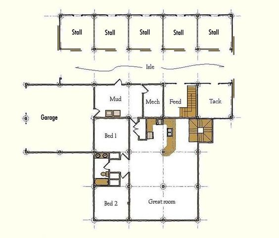 A house tack and barn plans on pinterest for Horse stable plans with living quarters
