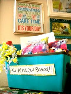 all about you birthday basket- cute! I did this for Justin's birthday with a basket & gave him a ice chest he wanted! He loved it all- I put a bunch of stuff he likes - energy drinks & beer & lots of stuff for his work truck so he could have stuff on the go! He loved it!