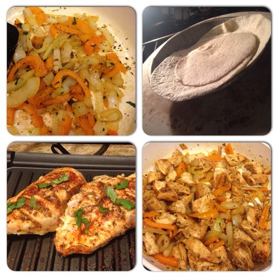 Grilled chicken tacos with sautéed onion and orange bell pepper