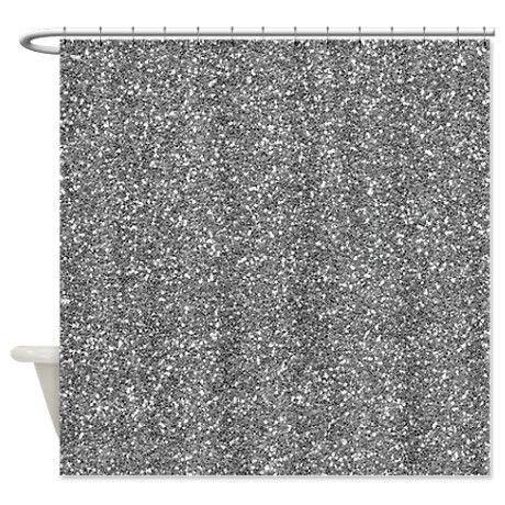 Silver Grey Glitter Shower Curtain On CafePress