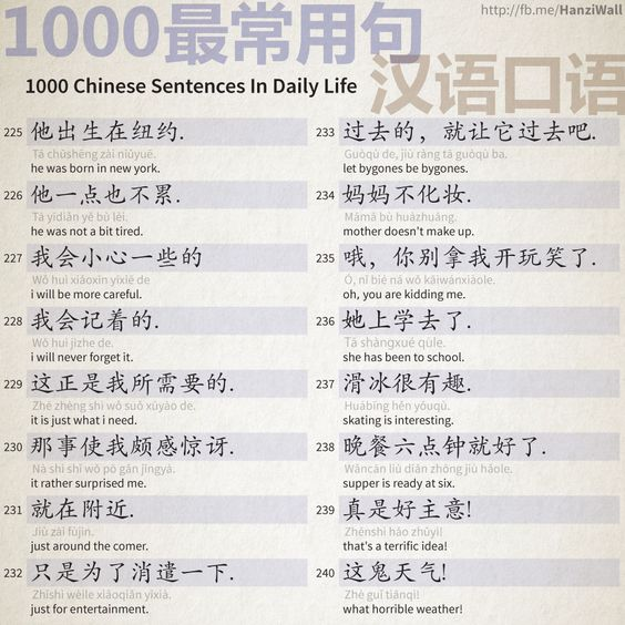 1000 Chinese Sentences In Daily Life Part 15