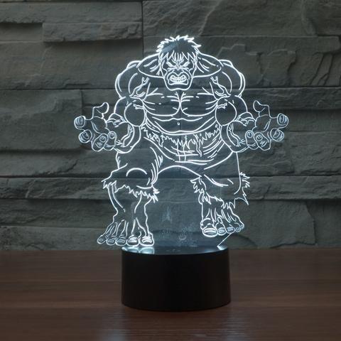 3d Led Hulk Hologram Lamp Mood Lamps Visual Illusion 3d Night Light