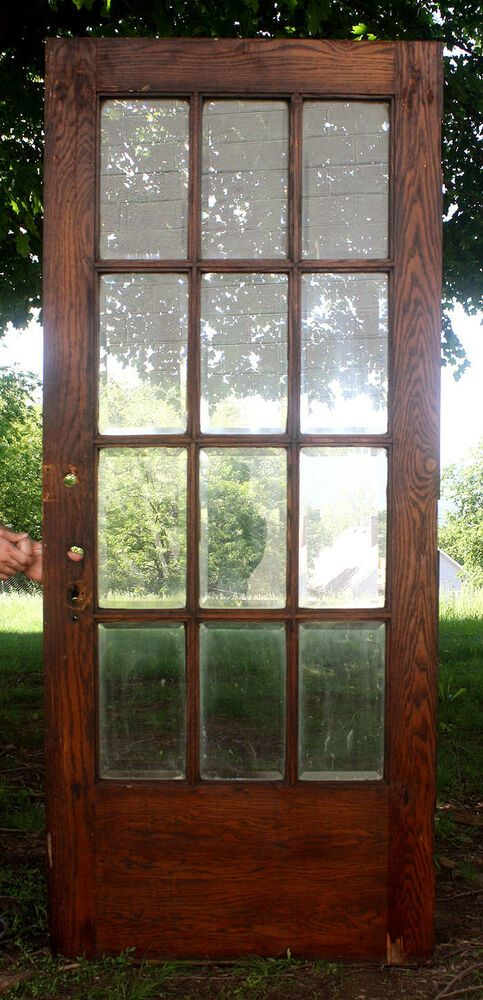 36 X84 X1 3 4 The Door Has A Solid Oak Core Covered With 3 16 Thick Oak Veneers This Is A He Antique French Doors Beveled Glass Doors Vintage Screen Doors