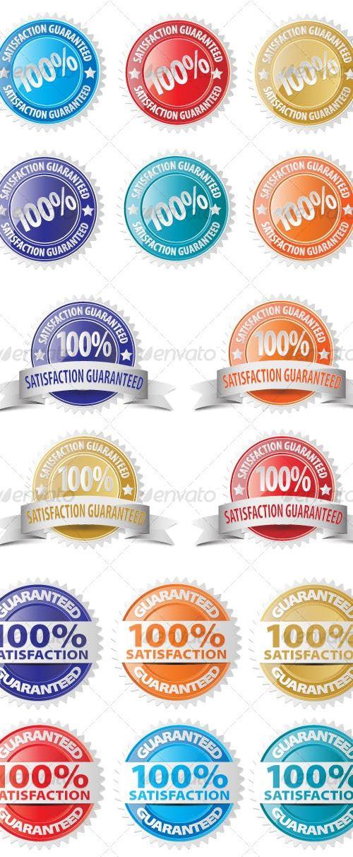 Vector Satisfaction Guaranteed Seal Icon Set Icon Set Vector Vector Graphics Design