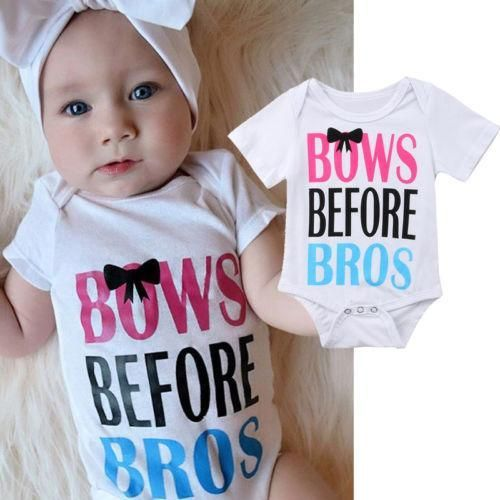 girlie outfit Bows Before Bros Baby Onesie \u00ae Baby Shower Gift Funny baby Onesie \u00ae baby girl Onesie \u00ae Baby Girl Outfit