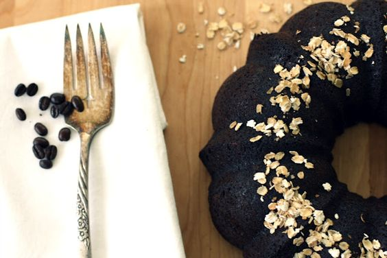 chocolate olive oil bundt cake with coffee and oats