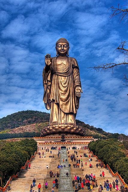 I'm not a buddhist ( wish i would but i am just not friendly enough), but this would be amazing to see in person: Buddha at Lingshan, Jiangsu, China