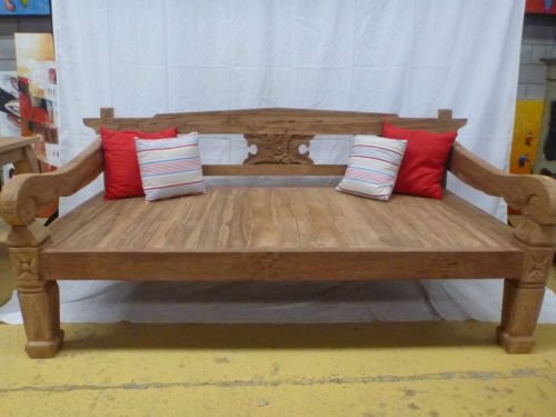 Balinese Hand Carved Recycled Teak Large Day Bed Bench