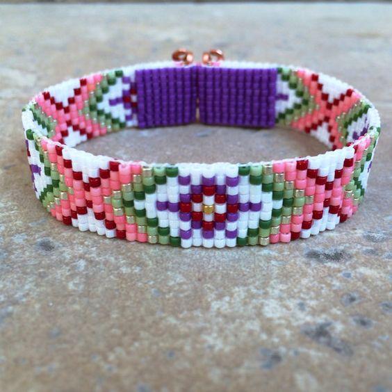 Guava Juice Bead Loom Friendship Bracelet Bohemian by PuebloAndCo