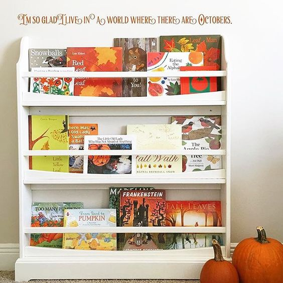 Love how @littlebooksbigworld uses the Madison shelf to display seasonal books.  BTW, can we get three cheers for October?!  #lovemypbk