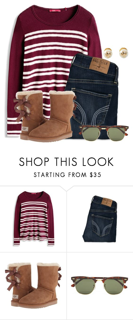 """""""Who's ready for tonight!!"""" by flroasburn on Polyvore featuring Hollister Co., UGG, Ray-Ban and Tory Burch"""