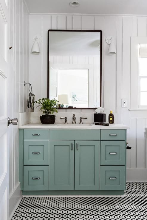 Charm Your Bathroom With A Blue Green Vanity Washstand To Balance White Vertical Plank Walls A Black Van Small Bathroom Decor Bathroom Decor Bathrooms Remodel