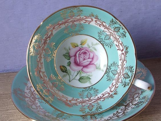 Vintage 1950's Mid Century tea cup and saucer, Royal Grafton pink rose tea cup, blue and gold china teacup, English tea cup, Antique teacup