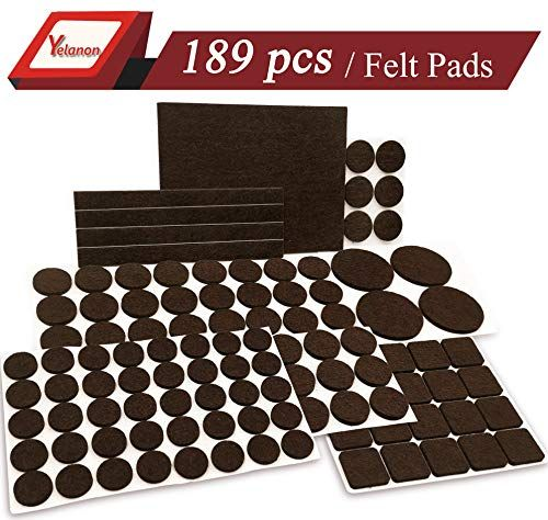 Yelanon Furniture Pads 189 Pieces Self Adhesive Felt Pad Brown Felt Furniture Pads Anti Scratc Furniture Pads Felt Furniture Pads Floor Protectors For Chairs