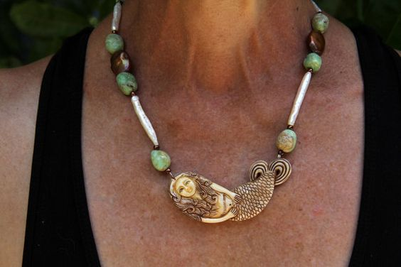 Carved Bone Mermaid with Bulgarian Opals and by LindaQueally