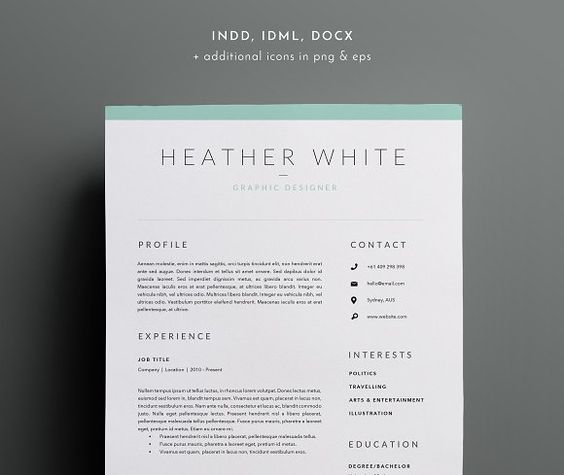 3 Page Resume Template INDD + DOCX - resume template docx