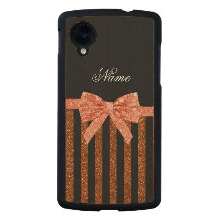 Top 4 trending girly glitter bow Nexus Mobile Case designs: Custom name orange glitter stripes bows carved maple nexus 5 case - click/tap to see the slideshow for related designs