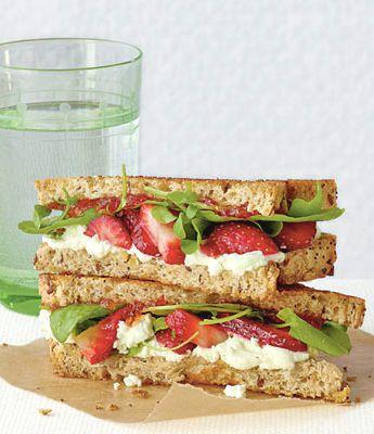 Strawberry cream cheese arugula sandwich.
