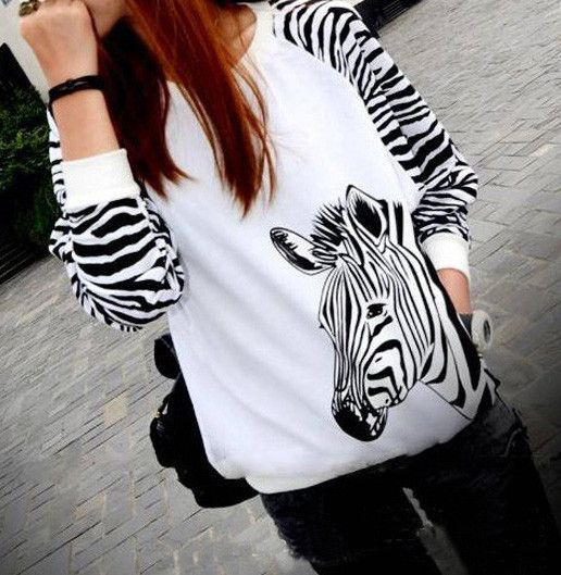 Fashion zebra long-sleeved T shirt AZ910FE