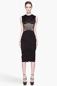Black and warm beige Mesh Corset Dress; Alexander McQueen