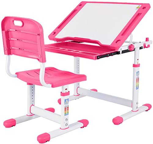 New Sallymonday Kids Desk And Chair Set Study Table Height Adjustable Kids Desk Ergonomic Design Sc In 2020 Childrens Desk And Chair Desk And Chair Set Childrens Desk