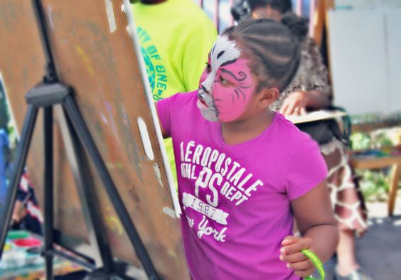 Hidaya Brown, 9, studying at Garr Academy was drawing with a dramatic face.